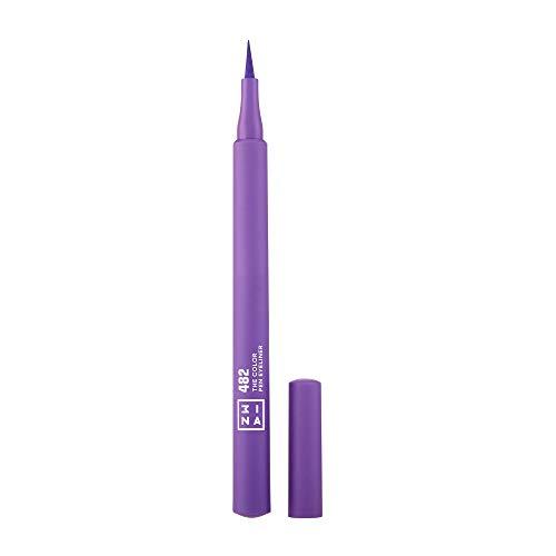 3INA MAKEUP - Vegan - Cruelty Free - The Color Pen Eyeliner 482 - Lila Filz-Eyeliner - Eyelinerstift - Langhaltende Definition - Hochpigmentiert - 8 Farben - Lila