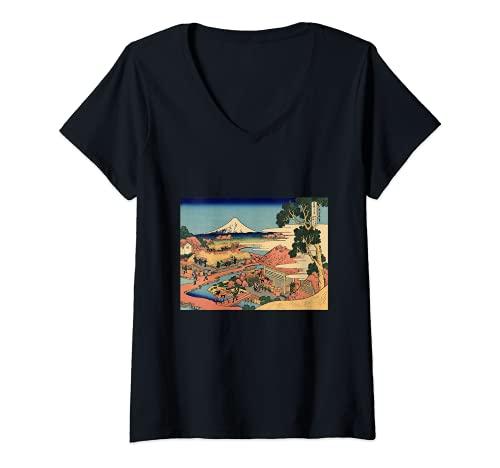 Mujer La plantación de té de Katsushika Hokusai de Katakura Camiseta Cuello V