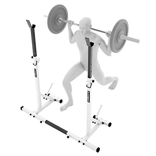 GF1 Ablage für Stange/Langhantel und Hantelscheiben, max. Belastung 250 kg, verstellbar in der Höhe (alle 5 cm von 94 bis 160 cm) und in der Breite (74-102 cm), pulverbeschichtete Stahlprofile