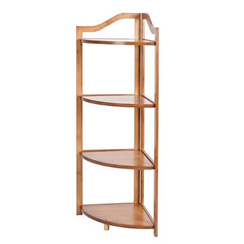 lyrlody- Estantería de cocina con 3/4 estantes, estructura de acero, zapatero, bambú, estantería de baño, estantería para plantas, escalera, 30 x 45 cm (4 capas)