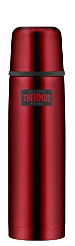 THERMOS ThermosflascheEdelstahl Light&Compact, Edelstahl rot 750ml, Isolierflasche mit Trinkbecher 4019.248.075 spülmaschinenfest, Thermoskanne hät 18 Stunden heiß, 24 Stunden kalt, BPA-Free