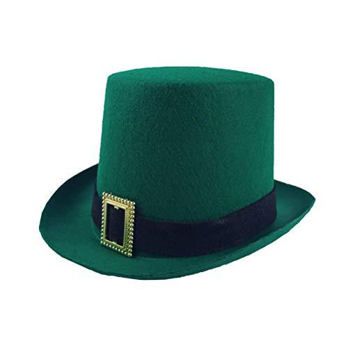 2pcs Negro Cinturn Irlands Festival Fiesta Cap No Tejidos Da de San Patricio Tophat Tocado Top Sombrero de Fiesta Favores Decoraciones Props Con Hebilla Dorada Suministros Del Da De San Patricio