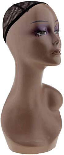 Mannequins de couture reglable Mannequin Femme Mannequin tête Buste Perruque Hat Bijoux Collier Affichage Modèle Et Net Cap Manikin Porte vêtement Mannequin (Color : Skin Tone, Size : Approx 53cm)