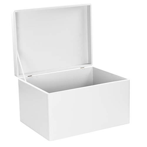 LAUBLUST Holzkiste zur Hochzeit – Florale Raute – Geschenkkiste Personalisiert mit Gravur – ca. 40x30x24cm, Weiß, FSC® - 4