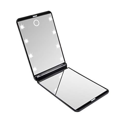 Beito 1 stück Mini Schminkspiegel Make up Taschenspiegel Beleuchteter Kosmetikspiegel Beleuchtung Zweiseitiger Tragbarer Kompakt