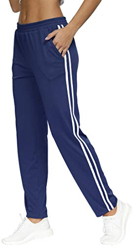BLEVONH Ladies Sweatpants,Lounge Soccer Basketball Pants for Women Sweats with Pockets Ladies Oversized 2-Stripes Side Running Athletic Workout Joggers Plus Size Roomy Fall Sports Clothes Navy 2XL