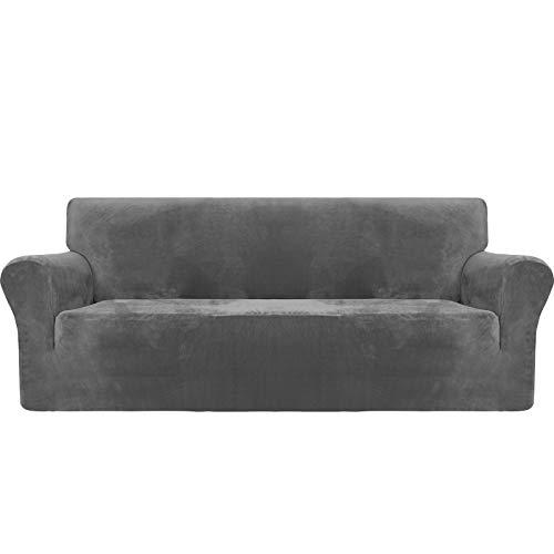 MAXIJIN Housse de canapé 3 places de protection en velours épais super extensible antidérapante pour animaux domestiques 1 pièce élastique