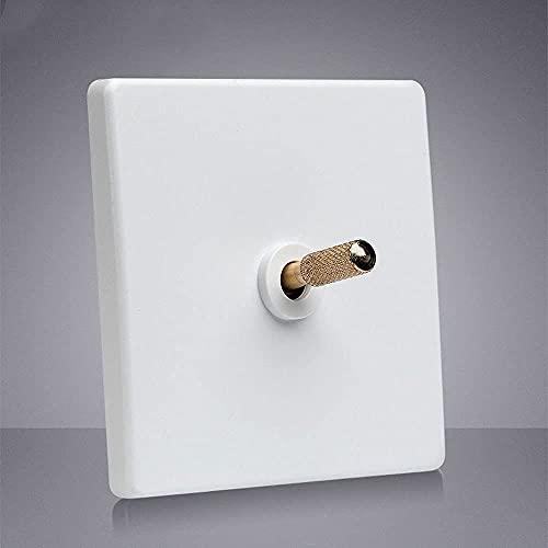 Foicags Interruptor de palanca blanca cuadrada 86 Moneen Toggle Interruptor de interruptor de enchufe Interruptor de pared Industrial Retro Interruptor interior Interruptor de atenuador 1-4 Gang 2 Way