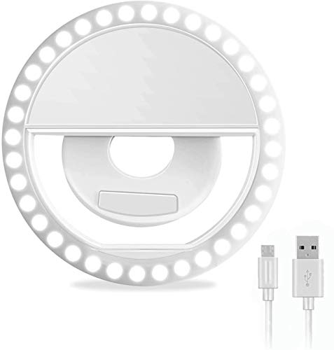 Selfie Ring LED Light Adurei Recargable(USB) 36 LED Selfie Light Clip 3-Nivel Ajustable Brightness Modos Luz Nocturna para Smartphone Tablet y PC para Youtube, Facebook, Live Stream