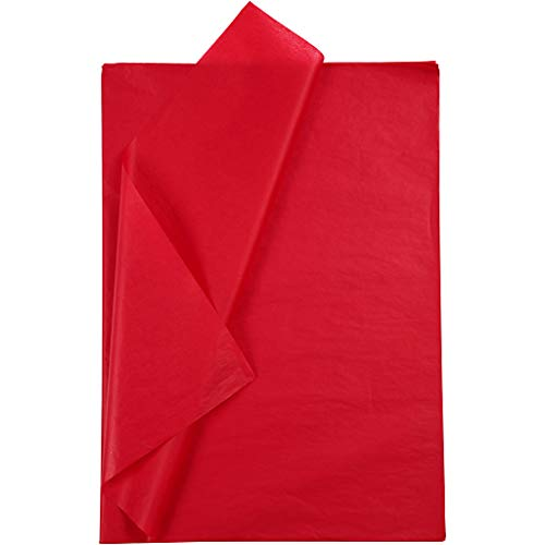 Papel de seda rojo, 50 x 70 cm, rojo, 25 hojas