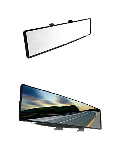 A2D® Snap Fitment Wide Angle Interior Large Rear View Mirror Glass for Better Viewing