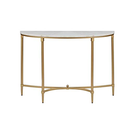 C-S-Qing-Desk Marble Decorated Table, Entrance Simple Console Furniture Home Villa Living Room Semicircle Sofa Side Table Easy To Assemble(Size:80 * 30 * 75CM,Color:A)