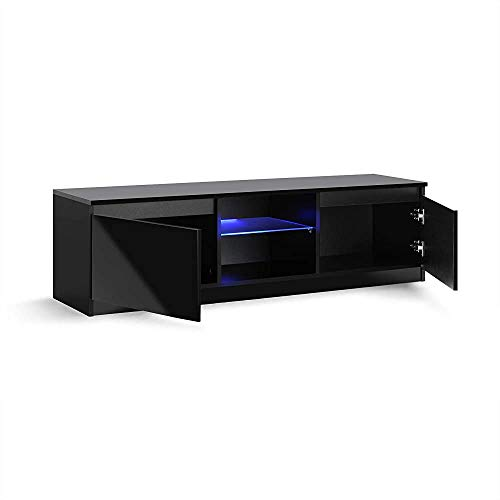 Moda minimalista moderna con LED luces del gabinete de pie negro brillante para TV hasta TV 60 pulgadas,Black