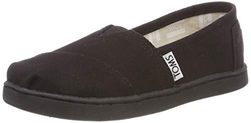 TOMS Unisex-Child Canvas Youth Classics Sneaker, Black, 4 Big Kid
