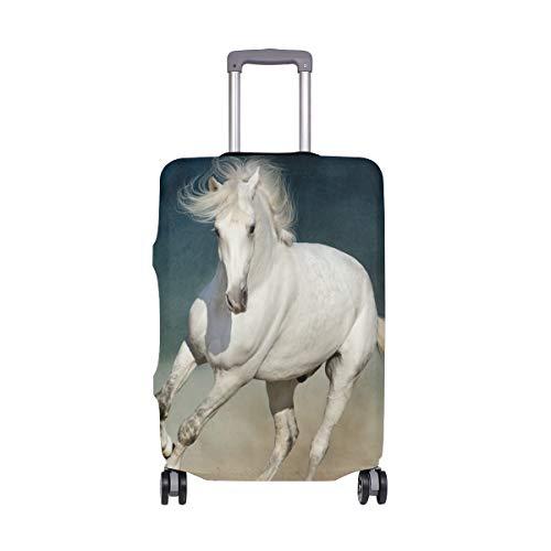 Orediy - Custodia elastica da viaggio per valigie, con stampa a cavallo (senza valigia), taglia S, M, L, XL, colore: Bianco, Multi (Multicolore) - suitcasecover