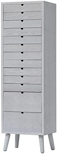 多段チェスト 木製 書類入れ A4 13段 ホワイト 幅36 奥行25.5 高さ おしゃれ 北欧 シンプル レターケース ネームプレート付 (13段タイプ ホワイト)