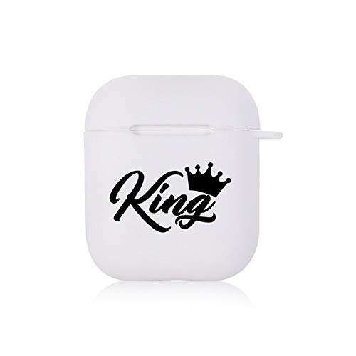 Zhaochen Koning Koningin Case for AirPods Case White Bluetooth Cover AirPods 1 2 Opladen Box Cover Skin Accessoires Air Pods Case Bluetooth headset box (Color : 1100237)