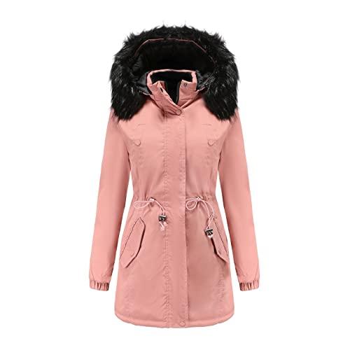 Kobilee Parka - Giacca invernale da donna, con imbottitura lunga, calda con cappuccio in pelliccia, impermeabile, taglia grande, parka invernale, Colore: rosa., M