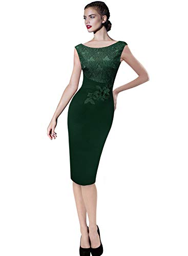 VFSHOW Womens Green Elegant Floral Applique Cocktail Party Bridesmaid Sheath Dress 2113 GRN 3XL