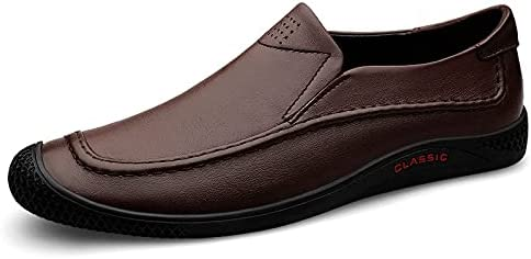 Battle Men Soft & Flexible Penny Loafers for Men Outdoor Easy Wear Slip on Shoes Genuine Leather Stitching Collision Avoidance Toe Casual