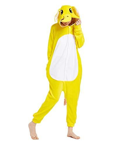 Pyjamas Mädchen Bekleidung Animal Erwachsene Unisex Schlafanzüge Karneval Leistungskleidung Onesies Cosplay Jumpsuits Anime Fasching Masquerade Kostüme Weihnachten Halloween Nachtwäsche Gelb Elefant
