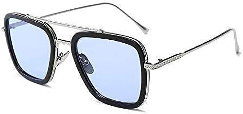 Iron Man Tony Stark Avengers Metallic Stylish Sunglasses For Men And Boys Silver Skyblue Large Size