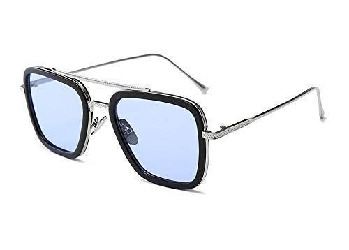 ARZONAI Ironman Tony Stark Avengers Metallic Stylish Square Men's Sunglasses (Silver-Sky Blue, Large)