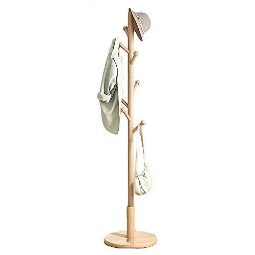 OMYLFQ Abrigo de Madera Soporte Soporte Sombrero Estante Libre Capa Permanente Árbol con 8 Hooks Fácil de ensamblar Capa de pie Percha de Chaquetas para la Entrada de la Sala de vestíbulo
