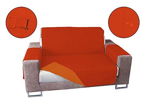 Banzaii Copridivano Antimacchia – Salvadivano Trapuntato Double Face – 2 posti Arancio Scuro/Arancio Chiaro per Seduta da 115 a 140 cm