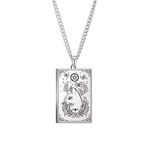 Brujas gato hojas corona marco Triple Luna diosa símbolo pentagrama Wicca Collar felino gato amante regalo 60CM