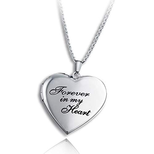 PHOCKSIN Locket Necklace That Holds Pictures Forever in My Heart Photo Lockets for Women Girl Christmas Day Gifts Jewelry