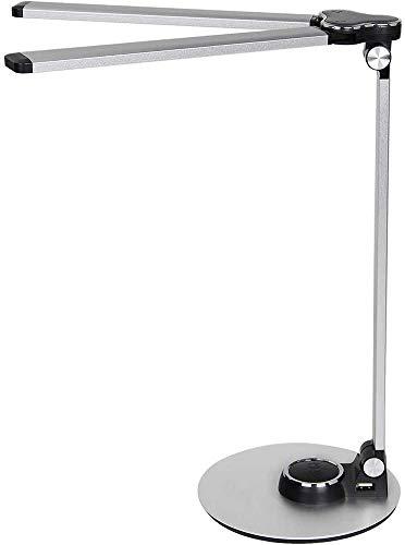 ZHIRCEKE Metallklapplesung Schreibtischlampe LED, Tischlampe Doppelte Lampenfassung, 3 Farb Tischleuchte mit Touchbedienung, Tragbar, Augenschutz für Büro, Lesen Studieren