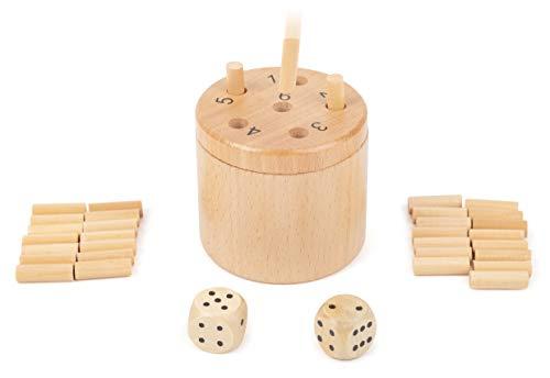 Small Foot 11365 Würfelspiel 6 Raus, Logikspiel für 2-6 Personen, Gesellschafspiel für die ganze Familie, 39-TLG Spielzeug, Mehrfarbig
