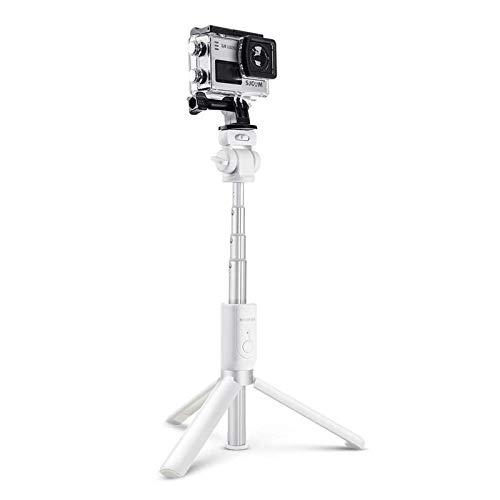 Trípode para teléfono móvil, versátil, 3 en 1, con Bluetooth, para selfies, para cámara deportiva, soporte de fonetripod (tamaño mediano; color: blanco)