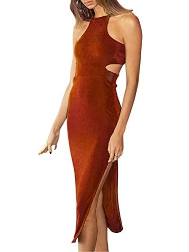 Vialogry Vestido largo atractivo del recorte de las mujeres, de una sola pieza sin mangas del color sólido
