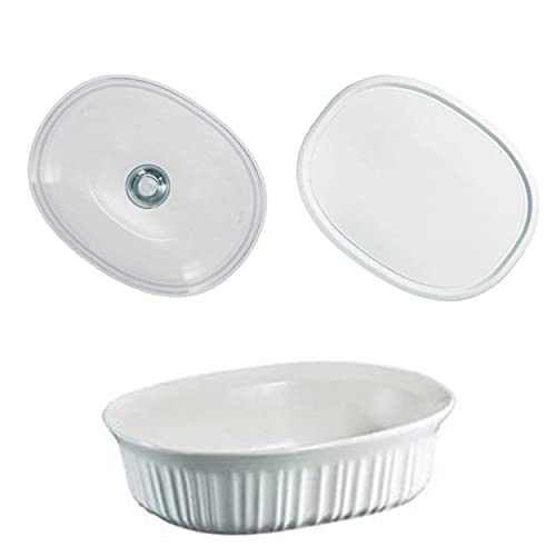 CorningWare French White 1.5 Quart Oval Casserole Bundle: 1.5 Oval with Glass and Plastic Lid