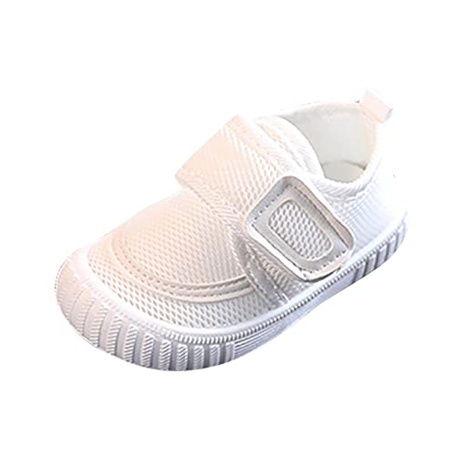 Zapatos para bebé para aprender a andar, para niños y niñas, de malla, antideslizantes, zapatos para aprender a caminar, transpirables, con suela de goma, Blanco, 16