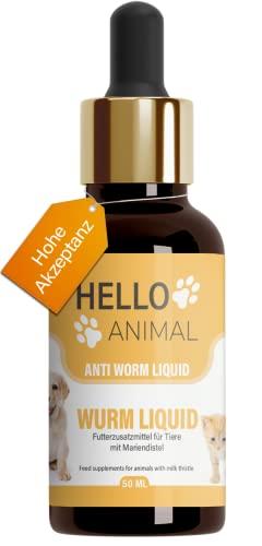 NEU: HelloAnimal® Wurm Liquid vegan für Tiere wie Hunde, Kaninchen, Katzen und Geflügel - natürliches Mittel für Magen und Darm bei WURMBEFALL - 50 ML