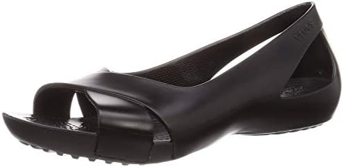 Crocs Women s Serena Flat Slip On Work Walking Shoes Ballet Black 7 M US product image