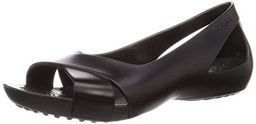 Crocs Women's Serena Flat | Slip On Work Walking Shoes Ballet, Black, 9 M US