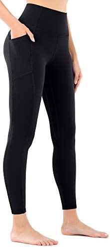 OVRUNS Yoga Pants for Women High Waisted Yoga Leggings with Pockets Workout Running Athletic Compression Leggings - Black - L