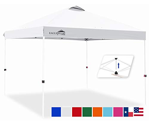 EAGLE PEAK 10' x 10' Pop Up Canopy Tent Instant Outdoor Canopy Easy Set-up Straight Leg Folding Shelter with 100 Square Feet of Shade (White)