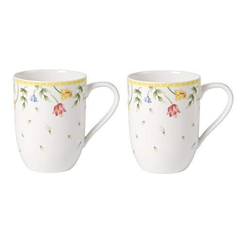 "Villeroy & Boch Spring Awakening Kaffeebecher \""Blumenwiese\"", 2er Set, 340 ml, Premium Porzellan, Gelb/Grün/Rot"