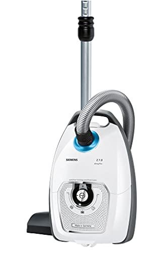 Siemens Staubsauger mit Beutel Z 7.0 VSZ7442S, ideal für Allergiker, Hygiene-Filter Plus, Bodendüse für Parkett, Teppich, Fliesen, langes Kabel, Fugendüse, Polsterdüse, 650 W, weiß