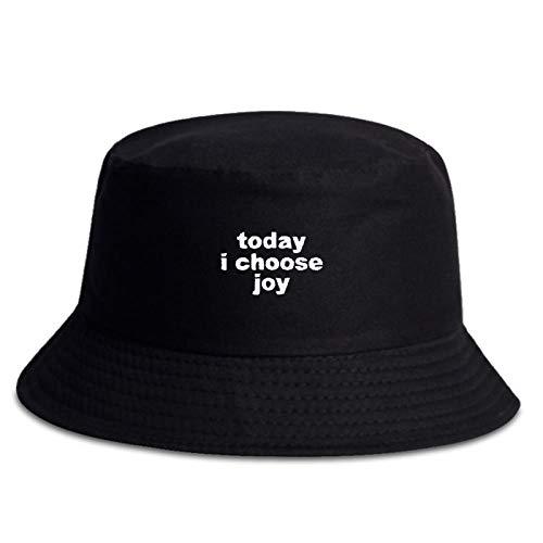 ZHENQIUFA Sombrero Pescador Gorras Sombrero De Pescador De Algodón De Moda Hoy Elijo Joy Bordado Sombreros De Cubo Sombreros De Hip Hop Sombreros De Panamá Salvaje para Hombres Y Mujeres-Negro