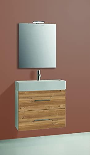 Inmocore Emma Conjunto Mueble de Baño Suspendido 2 Cajones con Lavabo Cerámico 1 Seno y Espejo, Wood, Blanco/Roble, 60 cm