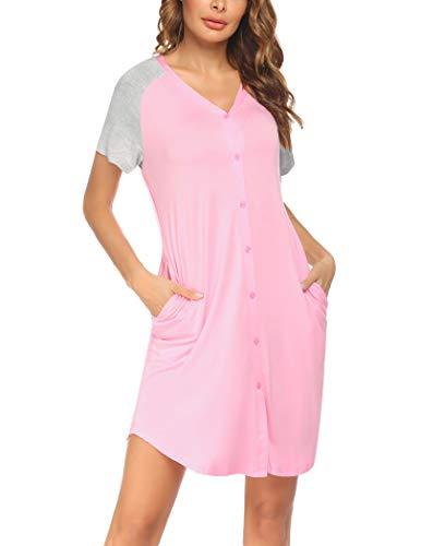 Ekouaer Camisón corto para mujer, camisón de lactancia, camisón de manga corta,...