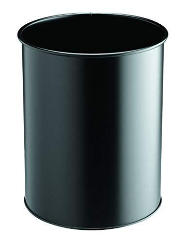 Durable 330101 Papierkorb Metall rund, 15 Liter, schwarz