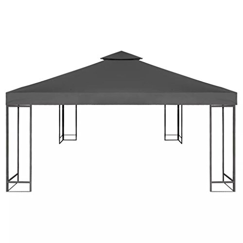 Nishore Pavillondach Ersatzdach Pavillonabdeckung Pavillon Zeltplane Gartenplane 3 x 3 m für Festzelt Dunkelgrau 1 x Ersatzdach, 16 x Klettverschlüsse