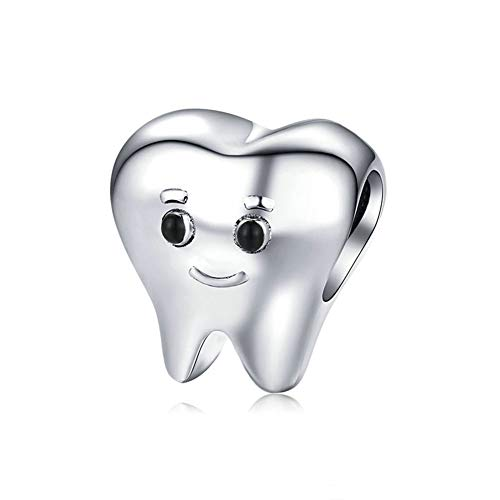 Abalorio de plata de ley 925 con diseño de diente saludable para pulsera Pandora, Todo,